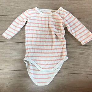 赤ちゃん インナー ロンパース 服 ピンク ホワイト ボーダー 白 長袖 ベビー 冬 起毛 肌着 ロング 80 cm