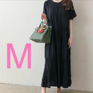 ロングワンピース レディース ワンピース ブラック ドレス 韓国 服 M 結婚式 新品 黒 ワンピ プリーツ ロング スカート