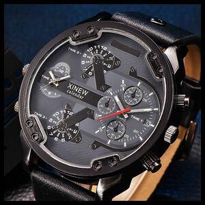 ◆新品・未使用◆◎XINEW(黒)腕時計 クロノグラフ アンティーク 正規品 クオーツ金属革ウオッチエルジンシルバーオセン ゴールド機械式④