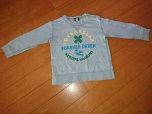 3can4on長袖丸首プリントTシャツ90水色綿100%四つ葉クローバーとり男の子女の子男女兼用ブルーカットソートップスコットンサンカンシオン