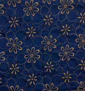 刺繍生地 エンブロイダリーレース レース刺繍 100cm×50cm コットン100% ネイビー 日本製