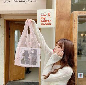 【ピンク】オーガンジー シアー ショッピングバッグ トートバッグ エコバッグ