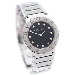 即決 ブルガリ ブルガリブルガリ 12Pダイヤ 腕時計 レディース クオーツ ブラック文字盤 シルバー BB26SS