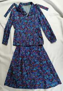 テーラードジャケット スカート レディース ブルー