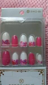 ネイルチップ ピンク×ホワイト×フラワー 春ネイル 花柄