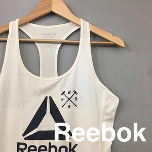 【美品・良品】リーボックReebok レディース タンクトップ ビッグロゴ フィットネス トレーニングウェア ホワイトレディース OTサイズ ♭★