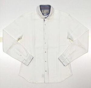 美品!!「POGGIANTI 1958」ホリゾンタルカラー 長袖コットンシャツ White SIZE:M イタリア製