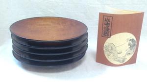 【山中漆器】『良品』山中漆器 小皿 平皿 5枚セット 木製皿 ブラウン ウッド ・(管理)200829-0915-7
