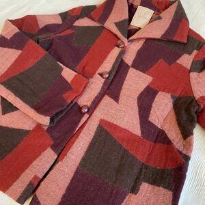 シビラ Sybilla◆ウールジャケット 赤×紫 ニットジャケット サイズL a20092210