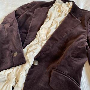 DAKS ダックス◆ベロア パープルブラウン テーラードジャケット 日本製 a20092212