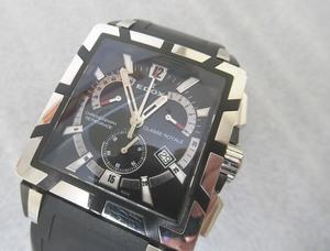 EDOX エドックス クラスロイヤル 腕時計 36mm ブラック×シルバー☆ 01504 クロノグラフ QZ ラバーベルト メンズ