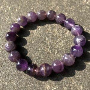 【1点物】天然アメジストブレスレット 10mm玉 【サイズ調整可能】天然石 パワーストーン 紫水晶 クリスタル ビーズ シンプル 4