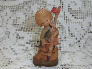 アンリ ANRI☆木彫り人形 小さい7㎝ チェロを演奏する女の子とネズミと猫と犬、笛吹く小鳥 楽器 音楽