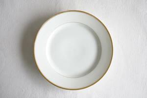 パリ窯 OLD PARIS 金彩白磁輪線プレート リム皿 / 19世紀・フランス / アンティーク 古道具 陶器 D