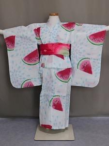 女の子 仕立済浴衣 単品 女児用のゆかた 腰ひも付 スイカ柄 サイズ120 送料無料 E2352-03-120