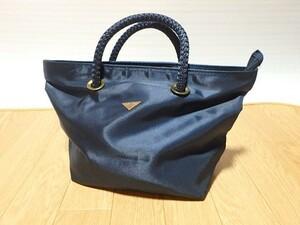 n004u ENDLESS BAG ハンドバッグ かばん 紺色 手提げかばん 手提げバッグ 中古