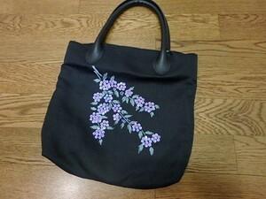 n006u 婦人 手提げかばん 手提げバッグ スパンコール 黒 女性用
