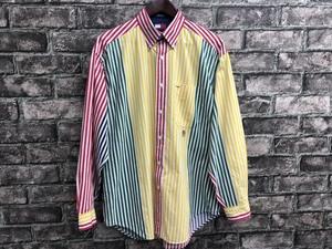 USA古着 トミー・ヒルフィガー M 90s 長袖 ボタンダウンシャツ ワンポイント ロゴ 刺繍 胸ポケット ストライプ柄 ホワイト