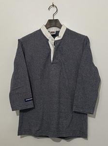 カナダ製 肉厚☆BARBARIAN バーバリアン ボーダー 7分丈ポロシャツ ラガーシャツ L 紺 灰色 バンドカラー 7分袖 レディース 女性用