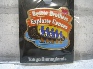 17 TDL アトラクション ピン ビーバーブラザーズのカヌー 探検 ピンバッジ 未使用 東京ディズニーランド