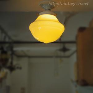 アンティーク ミルク ガラスシェード + 陶器 の シーリング ライト ソケット E26 ⑯ 天井ライト カフェ・店舗 照明 レトロモダン A200902