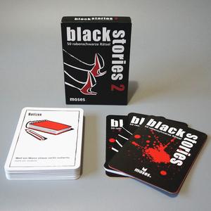 """【美品】 カードゲーム black stories2 50 rabenschwarze Ratsel ドイツ語版 説明書付き ブラックストーリーズ2 鳥肌の立つ""""黒い""""物語"""