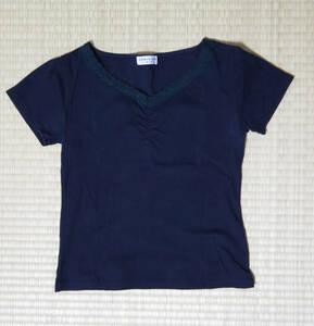 組曲 KUMIKYOKU sis 半袖黒Tシャツ Vネックレース サイズ2 USED