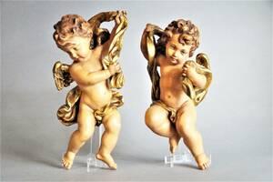 ☆イタリア アンリ ANRI 製・彩色木彫り 天使・エンジェル・壁掛け 一対☆L