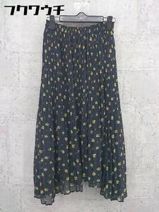 ◇ Ray BEAMS レイ ビームス 花柄 フラワー ロング プリーツ スカート サイズ0 ネイビー イエロー レディース