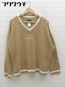◇ KANGOL カンゴール ロゴ 刺繍 Vネック 長袖 ニット セーター サイズF ベージュ ホワイト レディース