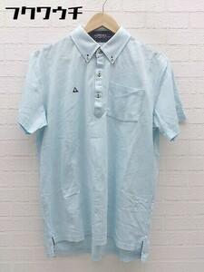 ◇ le coq sportif ルコックスポルティフ 総柄 半袖 ポロシャツ サイズLL ブルー メンズ