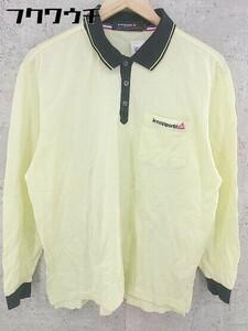 ◇ ◎ le coq sportif ルコックスポルティフ 鹿の子 長袖 ポロシャツ サイズL イエロー ブラック メンズ