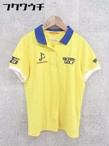 ◇ ◎ beams golf ビームスゴルフ 鹿の子 ロゴ 刺繍 半袖 ポロシャツ サイズM イエロー ネイビー レディース