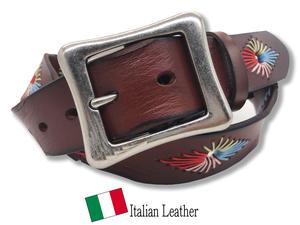 新品 イタリアンレザー ベルト メンズ 本革 カジュアル 牛革 レザー 刺繍 手縫い ステッチ カラフル ブラウン 茶色 シンプル GTC026 BROWN