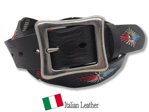 新品 イタリアンレザー ベルト メンズ 本革 カジュアル 牛革 レザー 刺繍 手縫い ステッチ カラフル ダークブラウン 茶色 GTC026 DARKBROWN