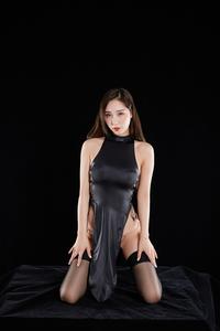チャイナドレス風コスプレ衣装 ハイレグレオタード ブラック フリーサイズ