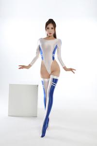 長袖上下セット コスプレ衣装 ハイレグレオタード レースクイーンレオタード ブルー フリーサイズ
