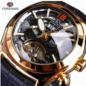 凸ガラスのスタイリッシュなトゥールビヨン3Dデザイナー本物のレザーストラップメンズウォッチトップブランドの高級腕時計自動時計