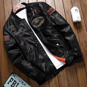 【送料無料】新品メンズライダースジャンパー フライトジャケット刺繍バイク細身 レザージャケット◆S~4XL