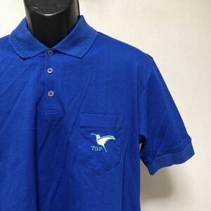 卓球ウエア【TSP】メンズ O2 日本製 ブルー 半袖 ポロシャツ 胸ポケ ワンポイント 刺繍 トップス 綿ポリ スポーツ トレーニングウエア