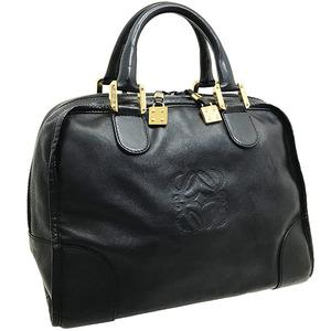 ● ロエベ ハンドバッグ レザー 革 ブラック 黒 LOEWE アナグラム ミニボストン 手提げ バッグ バック カバン 鞄 レディース 女性