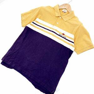 ■パーリーゲイツ PEARLY GATES 【ゴルフにぴったり♪】【ネイビー × イエロー】 半袖 ポロシャツ Lサイズ 人気の好デザイン■AD72