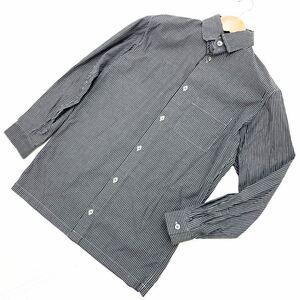 ■ワイズ Y's ヨウジヤマモト Y's Yohji Yamamoto 90s グレー ストライプ メンズ 長袖シャツ 3サイズ 【細身の好シルエット♪】■AH38