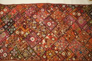 木綿インド刺繍パッチ、ミラーワーククロス[E12564]