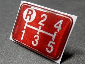 Tuningfan シフトパターン エンブレム レッド 左上R 5MT車用 5速 赤 SPE-R502 エルフ キャンター デュトロ ダイナ アトラス 金華山デコトラ