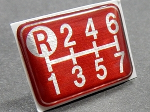 Tuningfan シフトパターン エンブレム レッド 左上R 7MT車用 赤 7速 SPE-R701 ギガ スーパー グレート ドルフィン プロフィア UDクオン
