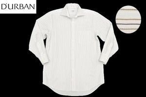 Y-0301★送料無料★美品★D'URBAN ダーバン★日本製 ホワイト白色 ストライプ 形態安定加工 長袖ドレスシャツ 38-78