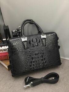 ワニ革保証 クロコダイル 背部分 レザー 本革 鞄 2way 斜め掛け ショルダーバッグ A4書類対応 ブリーフケース ビジネス 通勤 ハンドバッグ