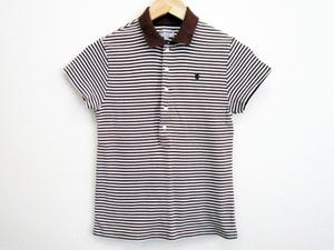 Gymphlex ジムフレックス ボーダー ロゴ刺繍入り 半袖 ポロシャツ 茶/白 サイズ12