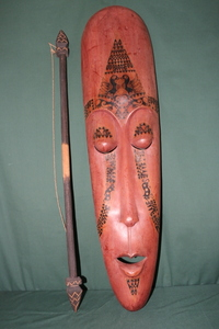 Africa mask mask spear set tree carving used display interior